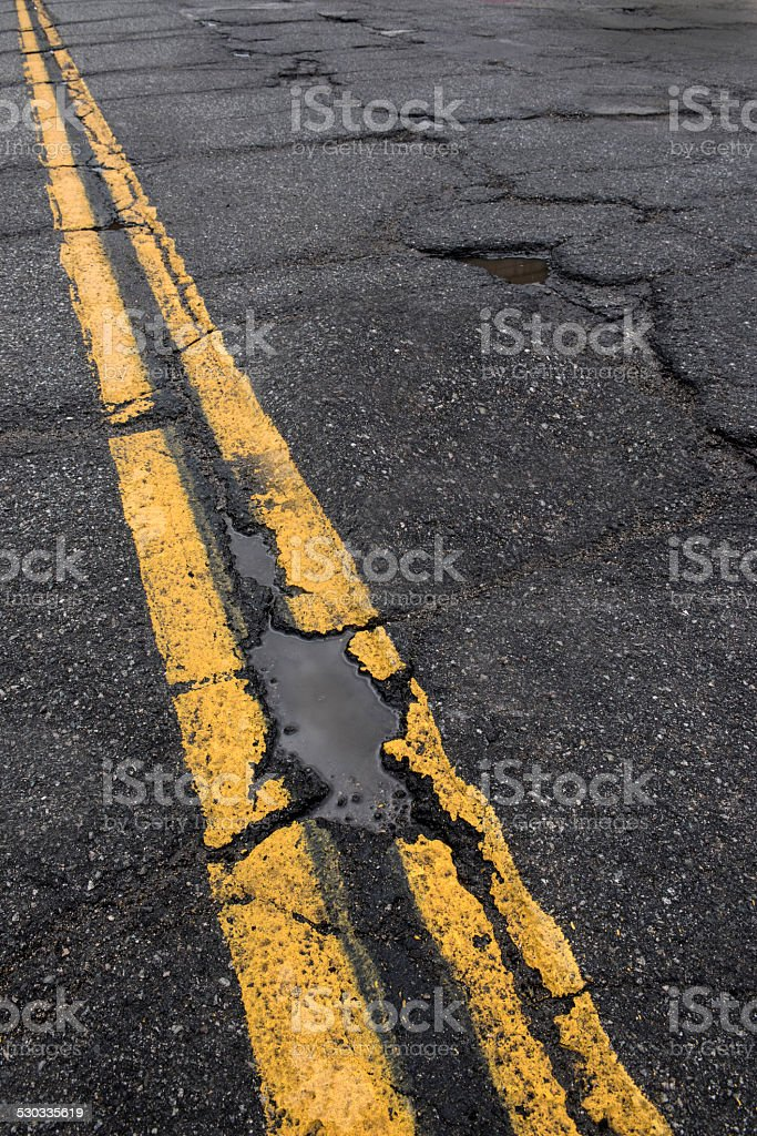 Road in need of repair stock photo