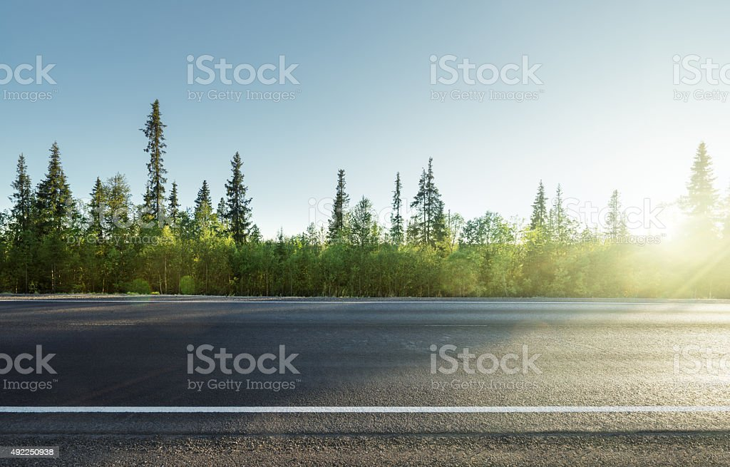 road in north mountain forest stock photo