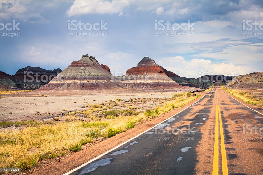 Road in Painted Desert, USA stock photo