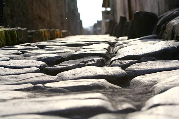 Road in Pompeji stock photo