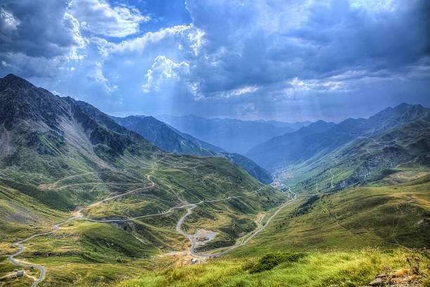 Road in Pyrenees Mountains stock photo