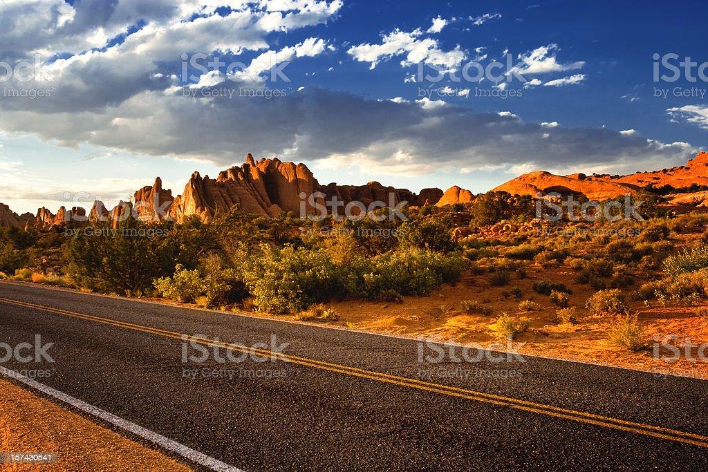 road in red desert utah royalty-free stock photo
