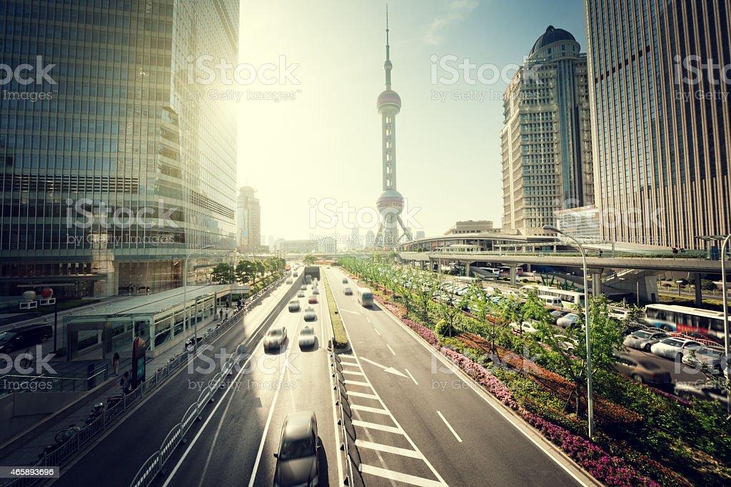 road 上海の陸家嘴金融センター ロイヤリティフリーストックフォト