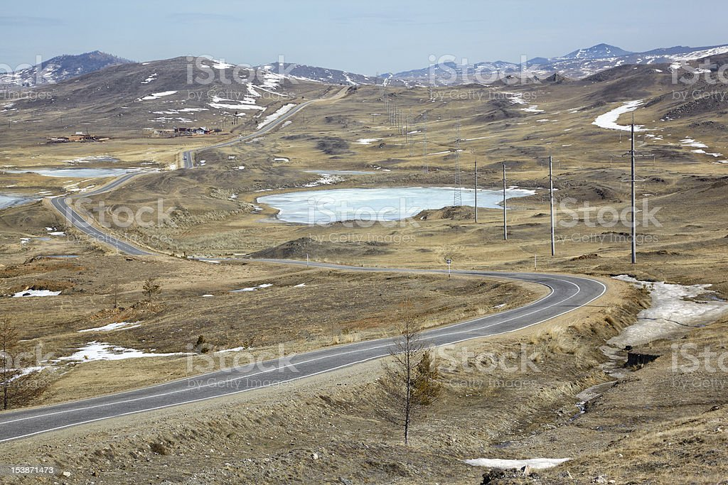 Road in Siberian landscape royalty-free stock photo