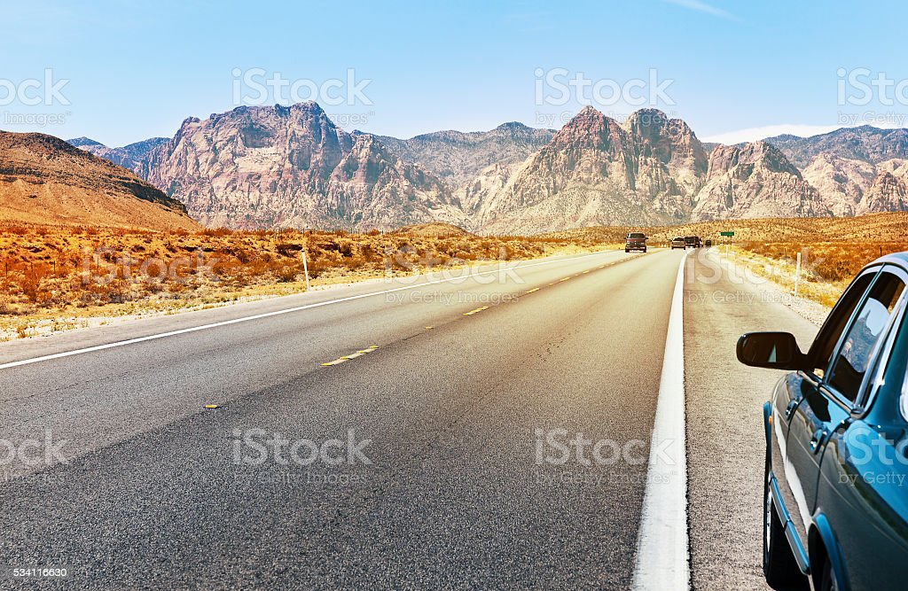 Road in Southern Nevada stock photo
