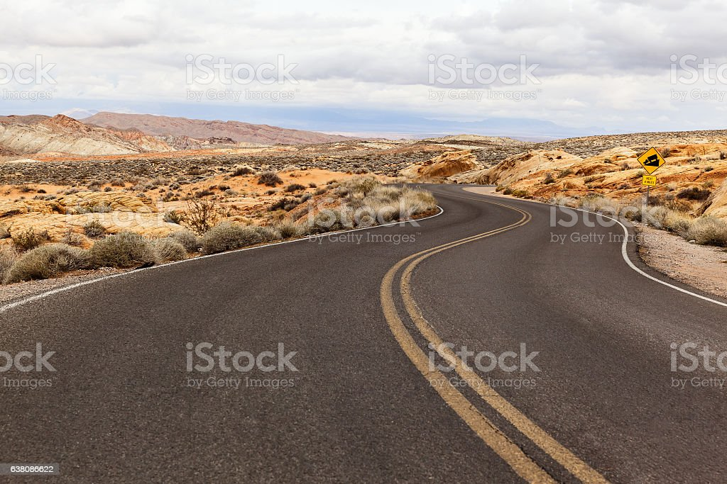 Road in Southern Nevada, USA stock photo
