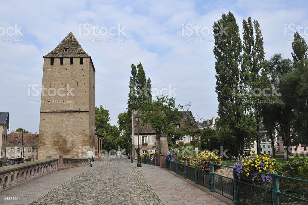 Road in Strasbourg over Medieval Bridge royalty-free stock photo