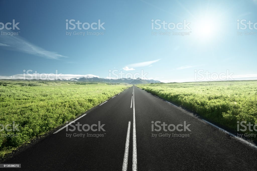 road in summer Iceland stock photo