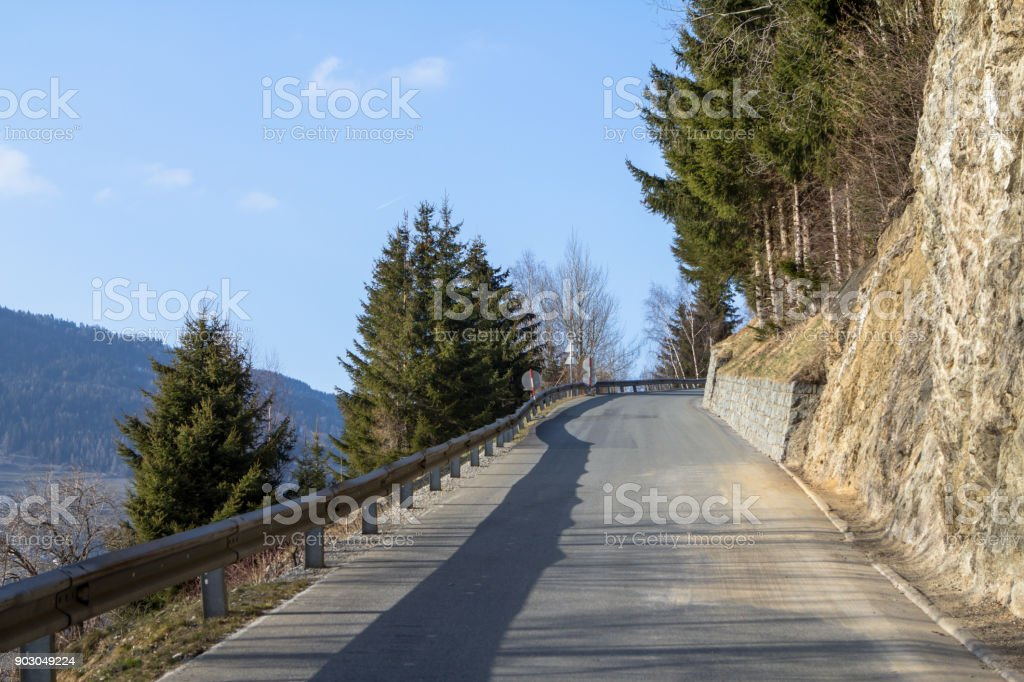 Road in the Alps stock photo