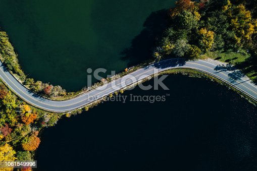 1061550162 istock photo Road in the autumn forest aerial view with lake 1061549996