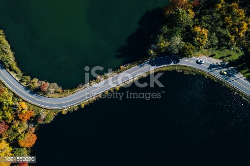 1061550162 istock photo Road in the autumn forest aerial view with lake 1061550020