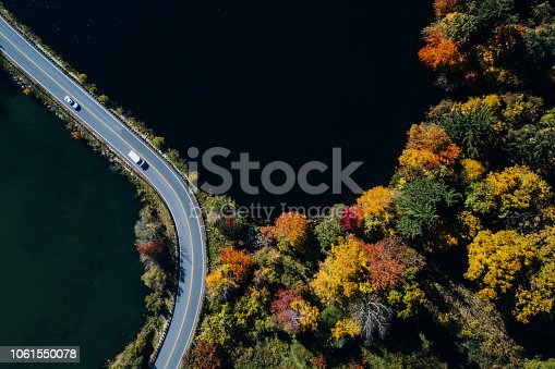 1061550162 istock photo Road in the autumn forest aerial view with lake 1061550078