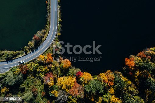 1061550162 istock photo Road in the autumn forest aerial view with lake 1061550100