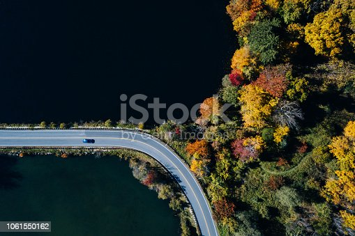 1061550162 istock photo Road in the autumn forest aerial view with lake 1061550162