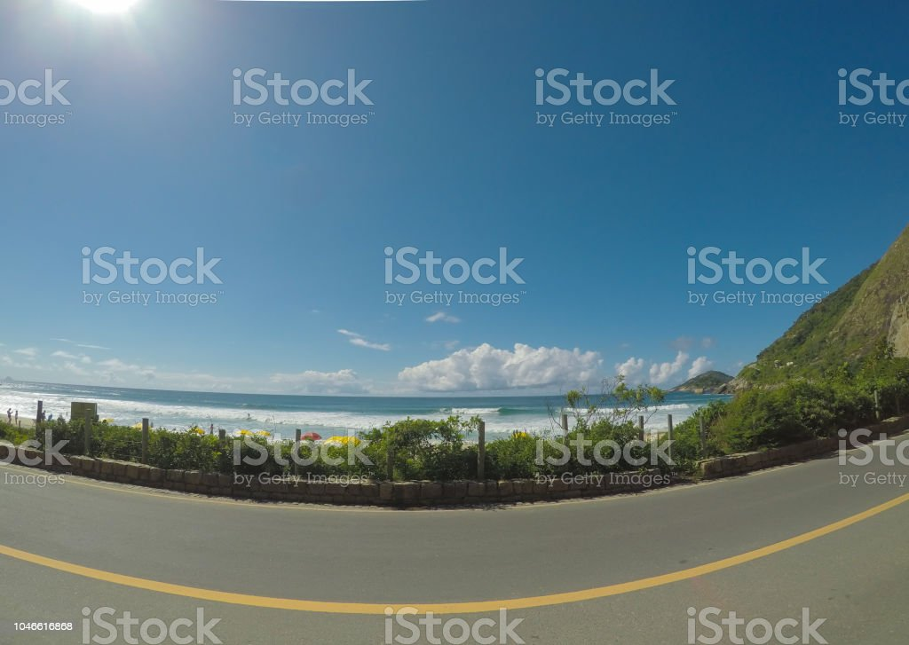 Road in the beach - Summer day stock photo