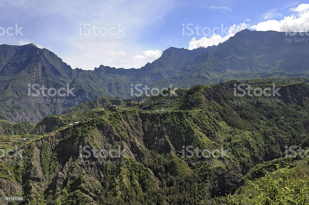 Road in the Cilaos caldera stock photo