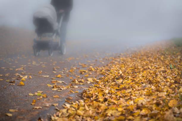 Straße im Nebel im Herbst. Kinderwagen mit Mutter auf der Straße in der Abenddämmerung – Foto