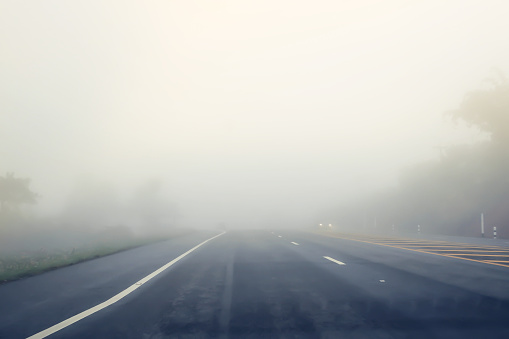 road in the fog.