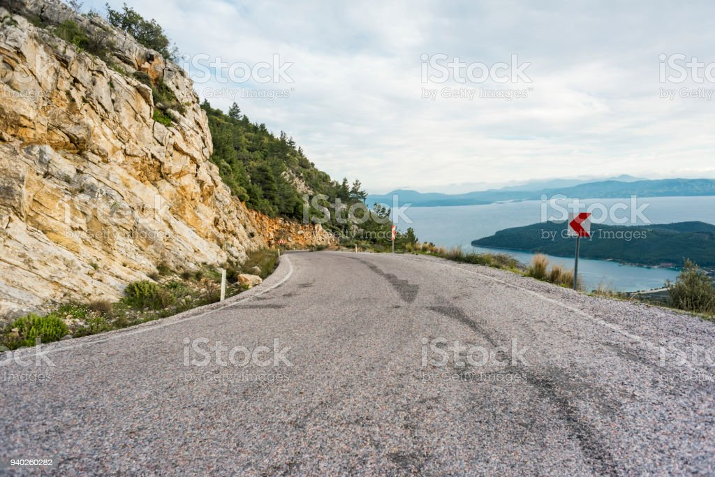 Road in the mountains, below the Mediterranean stock photo