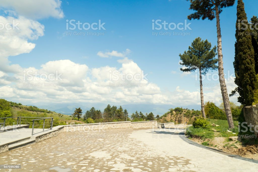 Road in the park near Alazani valley stock photo