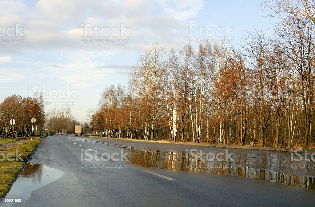 Road in the rain royalty-free stock photo