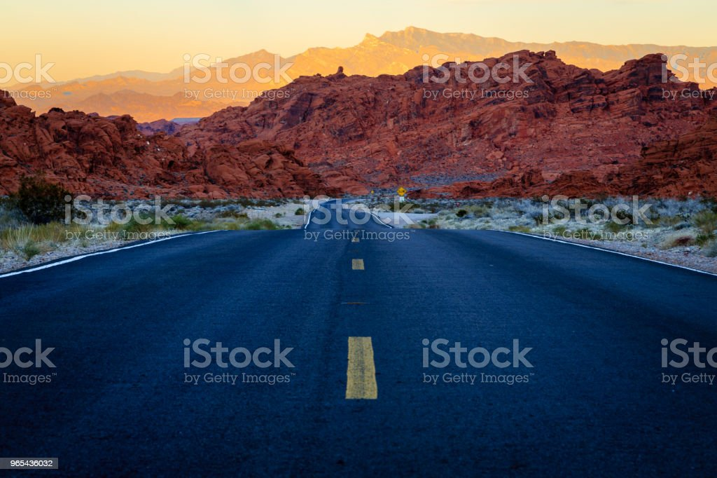Road in the Valley of Fire in Nevada at sunset royalty-free stock photo