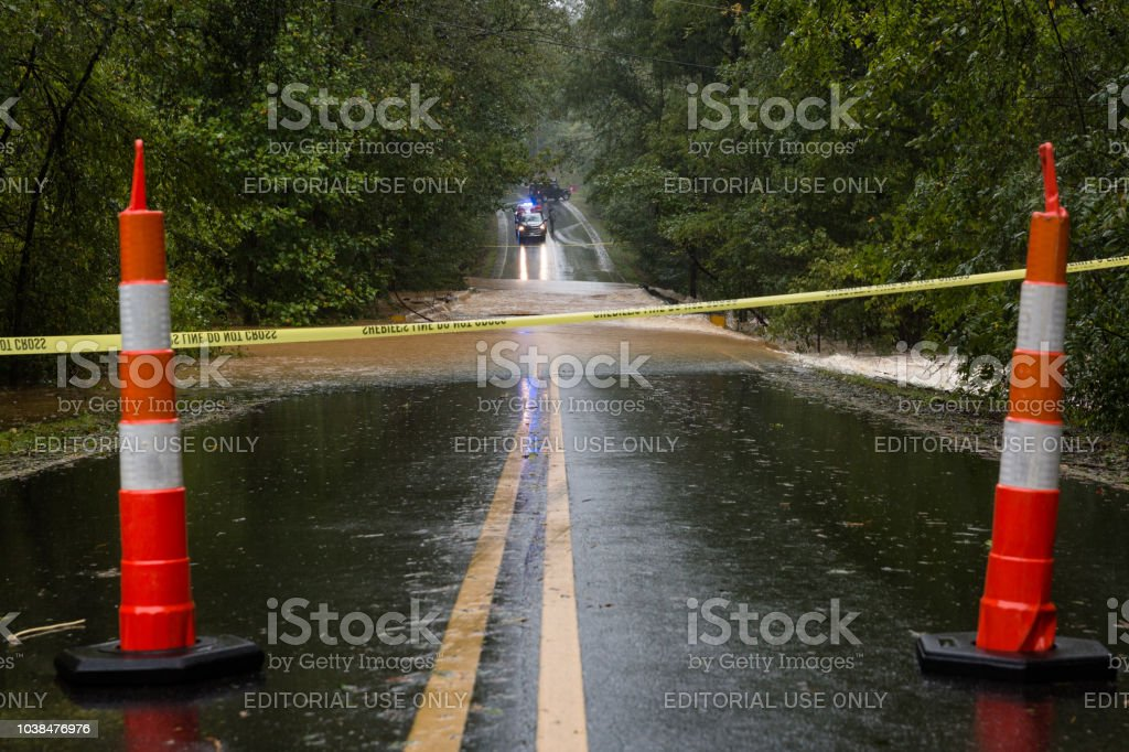 A road in Union County is flooded by Hurricane Florence stock photo