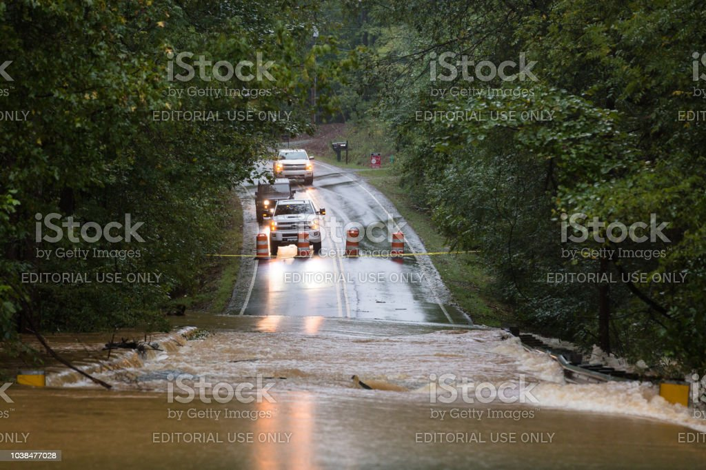 A road in Union County, NC is flooded by Hurricane Florence stock photo