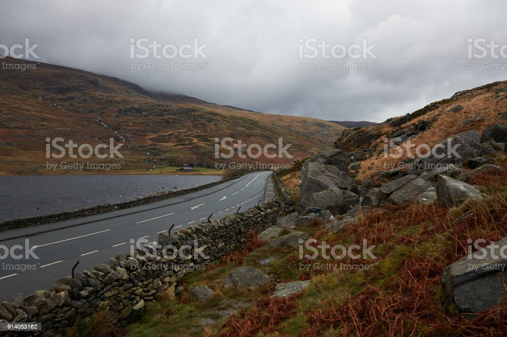 Road in Wales . stock photo