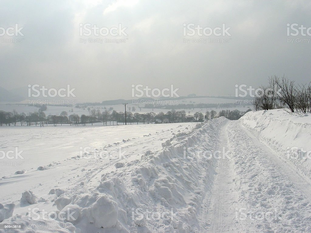 road in winter somewhere in Poland royalty-free stock photo