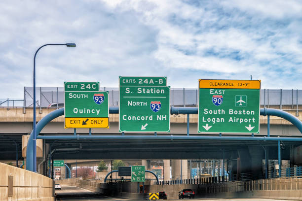 Road indicator plates in Boston stock photo