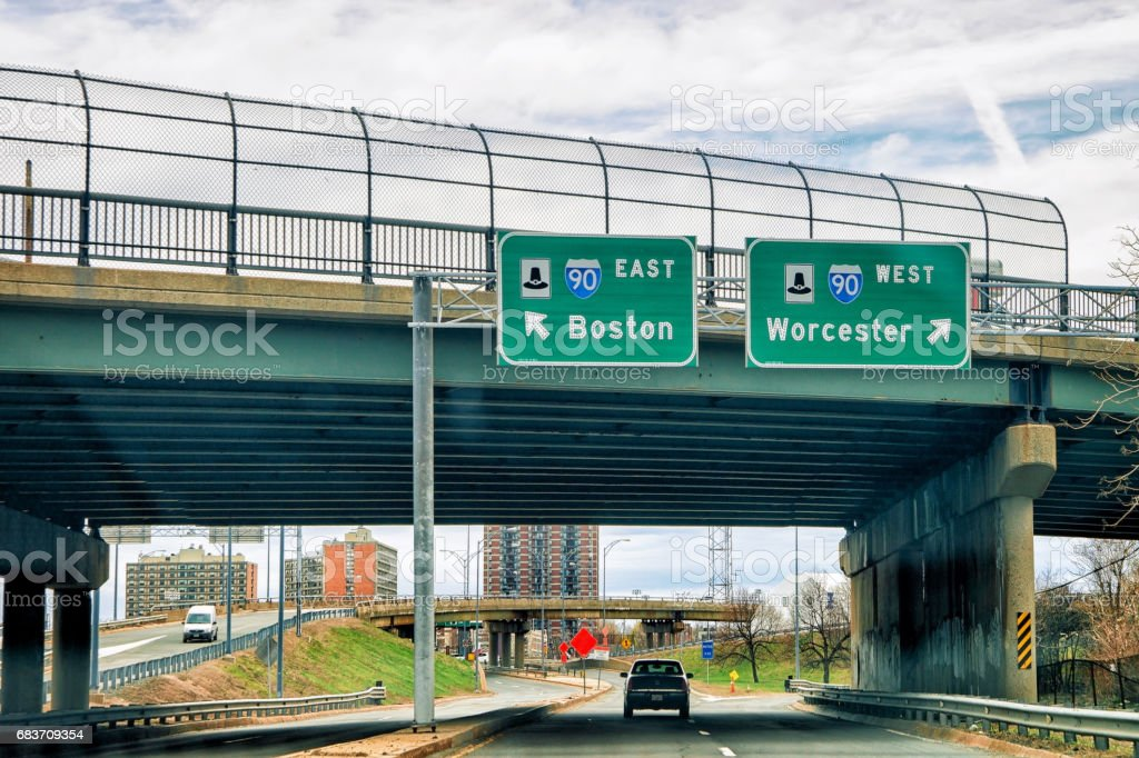 Road indicator plates leading to Boston or Worcester stock photo