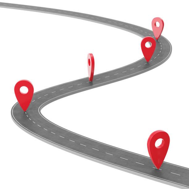 Route infographie avec aiguille de pin. Concept de navigation avec pointeur épinglé. Pointeur de marqueur de carte sur la feuille de route. Cartographie de la cartographie. Rue feuille de route pour la conception d'entreprise infographie, 3D rendering - Photo