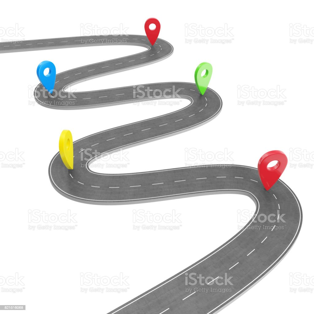 Road infographic with pin pointer. Navigation concept with pin pointer. Map marker pointer on road map. Cartography mapping. Street road map for business infographics design, 3D rendering stock photo