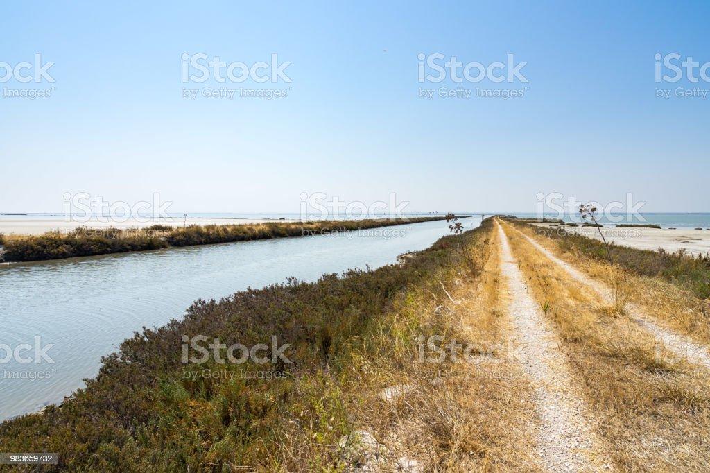 A road inside the arid landscape of Margherita di Savoia salt flats,...