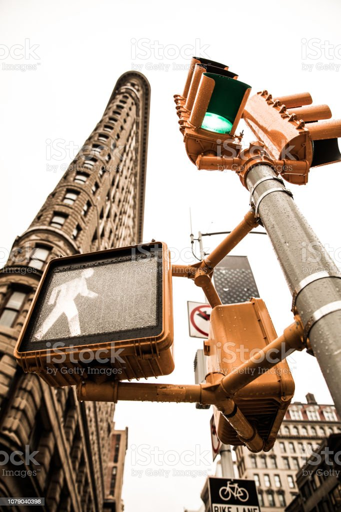 Road intersection at Flatiron building in New York stock photo