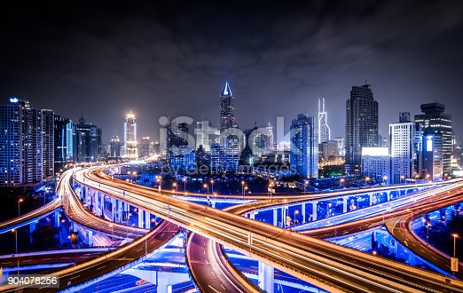 istock Road intersection at night 904078256