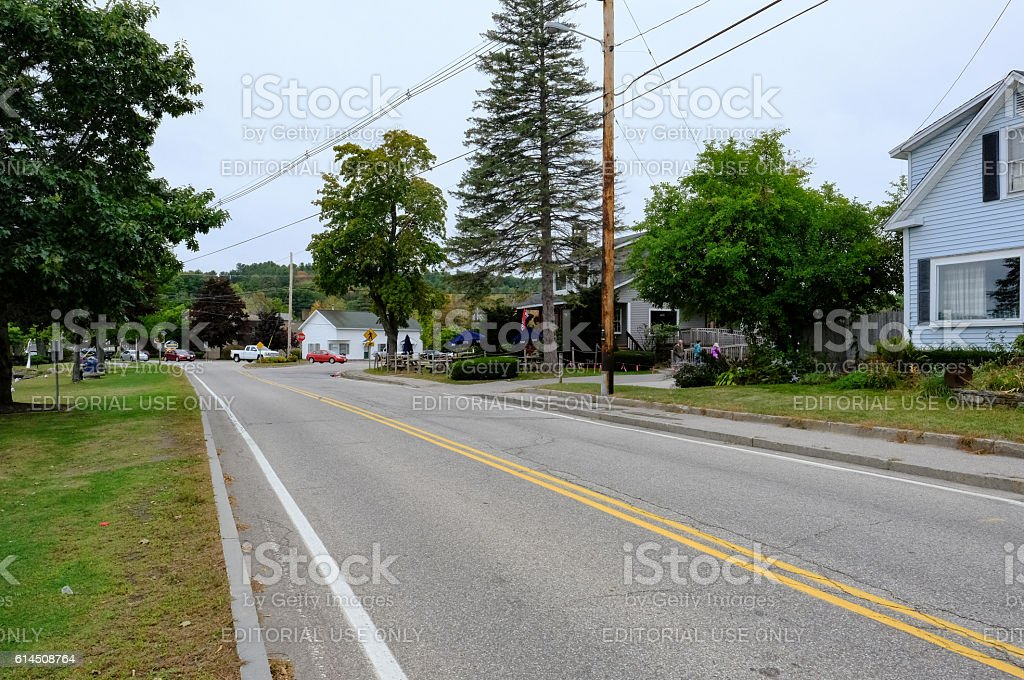 Road Intersection At North Conway, NH, USA stock photo