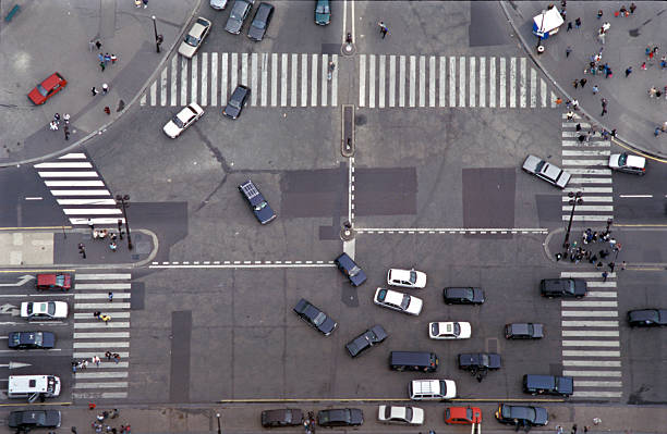 Road Intersection in Paris stock photo