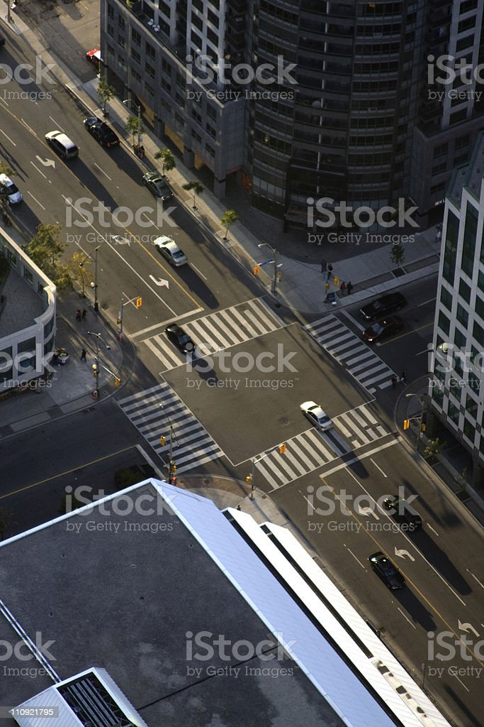Road intersection seen from above royalty-free stock photo