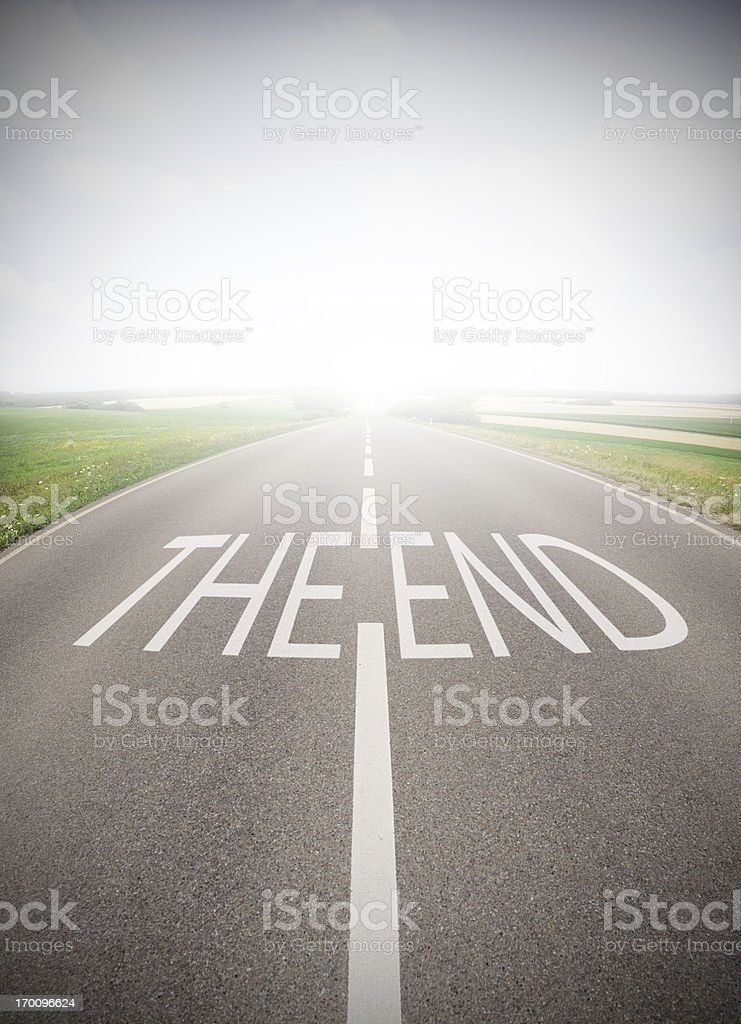 Road into fog. The End royalty-free stock photo