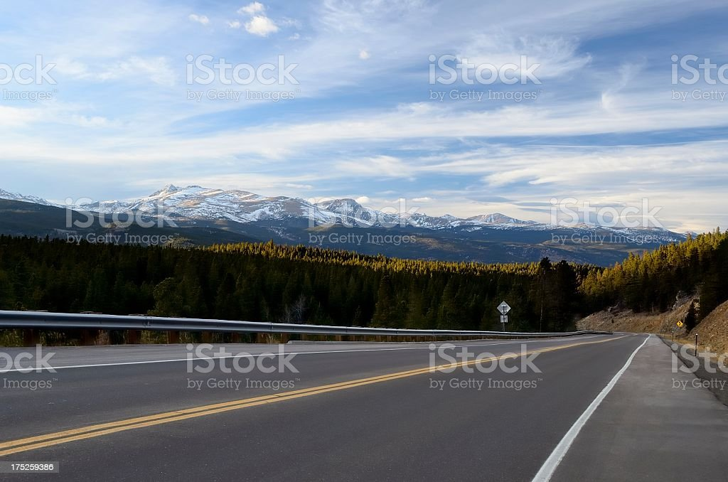 Road into the Rocky Mountains royalty-free stock photo