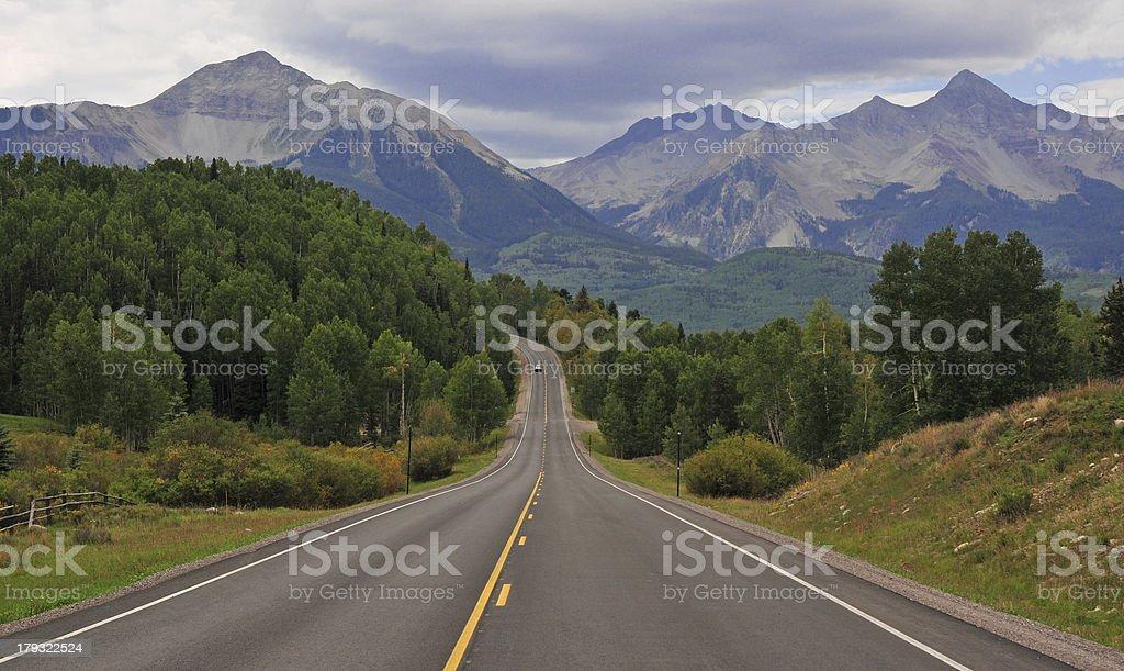 Road into the San Juan Mountains and Wilson Peak, Colorado stock photo