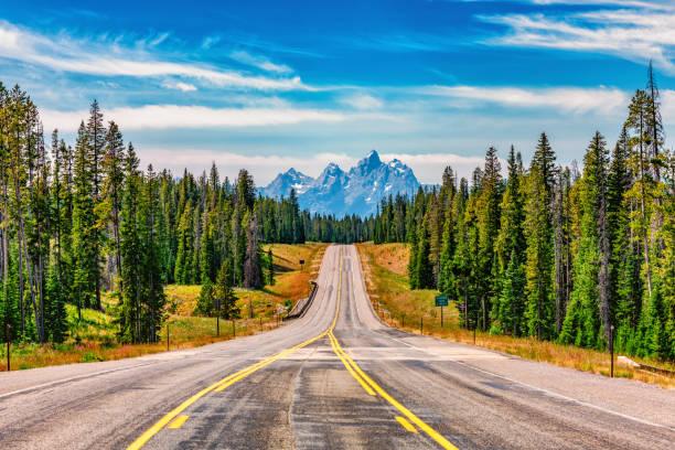 Road into the Tetons stock photo