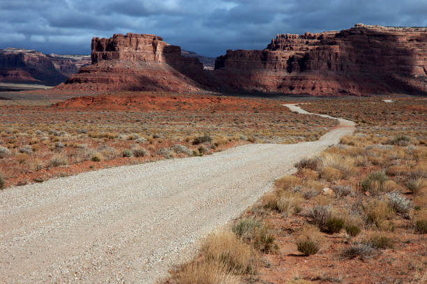 Road into Valley of the Gods with Storm, Utah stock photo