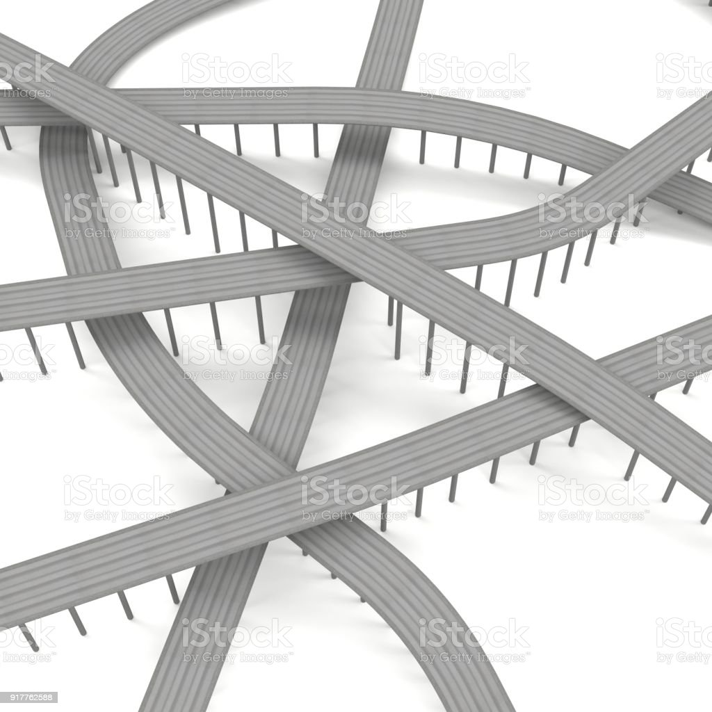 Road junction 3D render stock photo