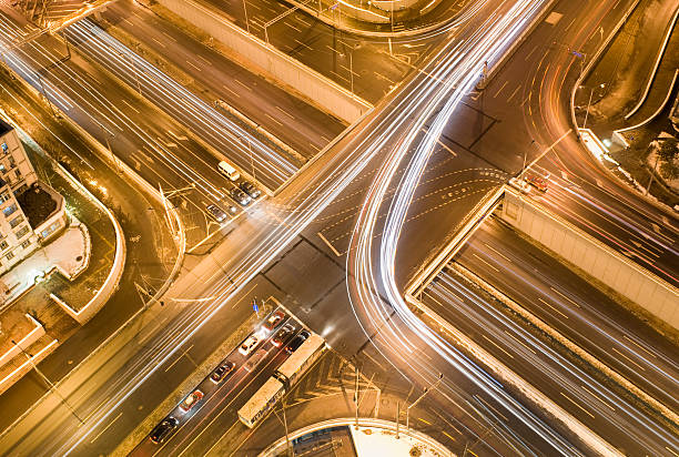 Road junction at evening stock photo