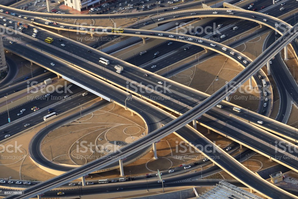 Road junction from above in Dubai. stock photo