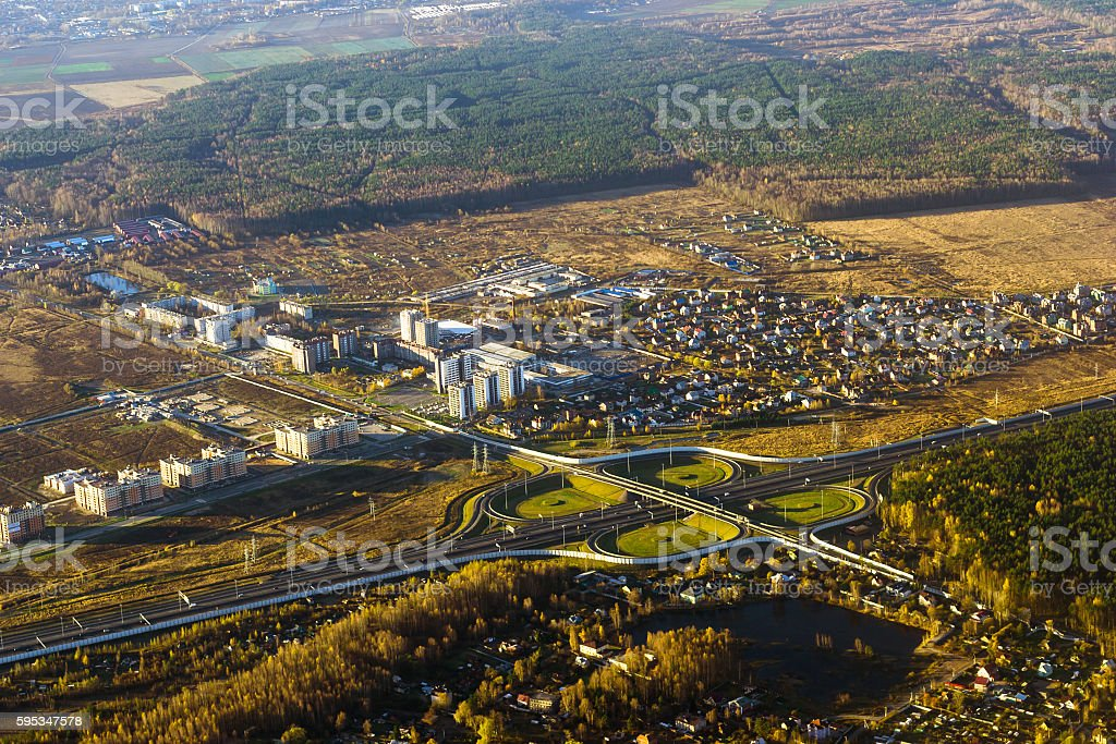 Road junction on highway, aerial view, Russia stock photo