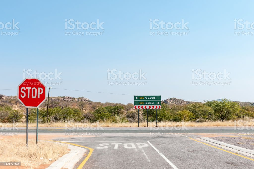 Road junction outside of the Galton Gate, Etosha National Park stock photo